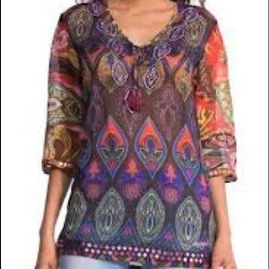 Desigual Rugos Moroccan Blouse Top Size Small